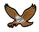 Aufnäher Bügelbild Aufbügler Iron on Patches Applikation Gelb Adler Eagle
