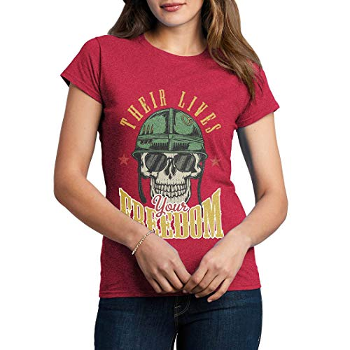 C899WCNTAH Damen T-Shirt Your Freedom Army Fighter Air Force Classic Jet Plane Aircraft US Military Base Vintage(X-Large,Antique Heliconia) -