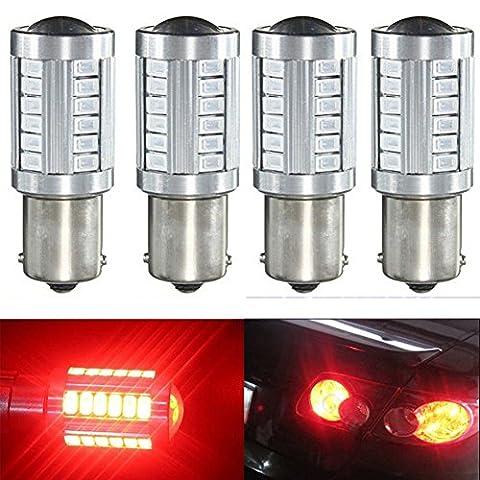 KATUR 4pcs 1156 BA15S 1141 7056 5630 33-SMD Red 900 Lumens 8000K Super Bright LED Turn Tail Brake Stop Signal Light Lamp Bulb 12V 3.6W