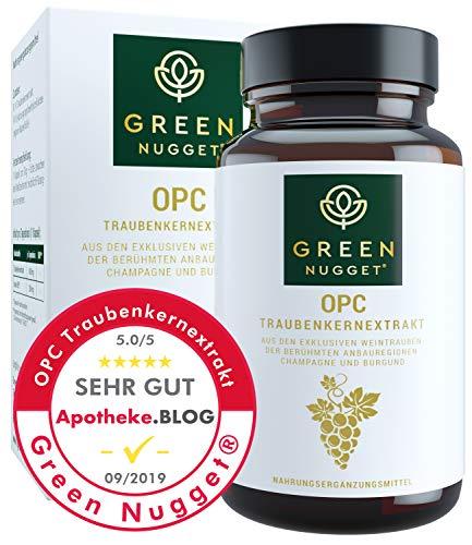 Green Nugget® OPC - Bestnote im Test 09/2019* - Traubenkernextrakt (71{e9bb46f850f7f08276062df1f35c7c5fd9f642fb50e91f42fe18c27a43f52689} OPC) aus der Champagne - Tagesdosis in 1 Kapsel - Schonende Extraktion ohne Alkohol - Vegan - 2Monatsvorrat - Made in Germany