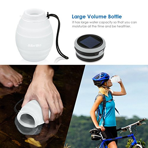Albrillo LED Campinglampe faltbare Trinkflasche Solarleuchten Led Flasche Solar Flaschen, 3 Lichtmodi und IPX7, Weiß (Weiß) - 4
