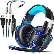 ROXTAK Cuffie Gaming PS4 con Microfono, Professionali Cuffie da Gaming, Bass Stereo, Cancellazione del Rumore