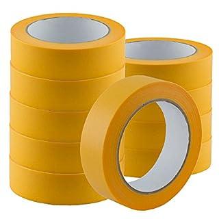 Premium Goldband 25 mm x 50 m | Profi Soft Tape UV-beständig | Lackierband Kreppband Feinkreppband Abklebeband (6)