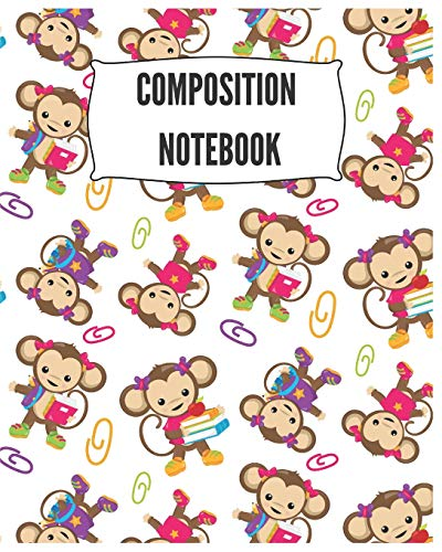 Composition Notebook: Cute Monkey Notebook/Journal for Adults/Children Animals Lovers to Writing (8x10 Inch. 20.32x25.4 cm.) Wide Ruled Lined Paper 120 Blank Pages (WHITE&BLACK&COLORFUL Pattern)