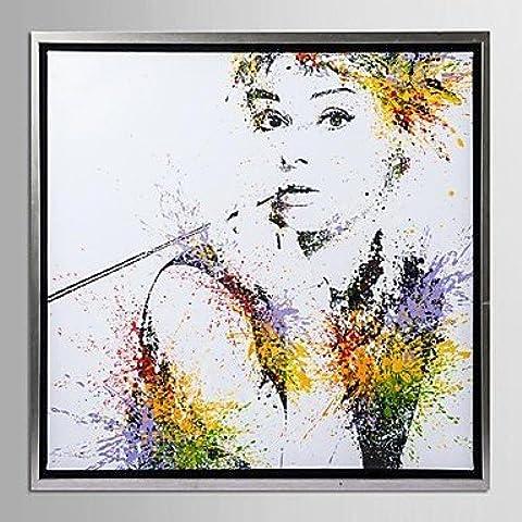NSJ enmarcado arte de la lona, ??color salpica hepburn audrey con marco estirado