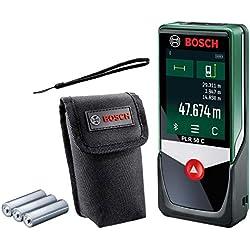Télémètre Laser Connecté Bosch - PLR 50 C (Portée 50m, livré avec piles et housse de rangement, écran Tactile, connexion Bluetooth)