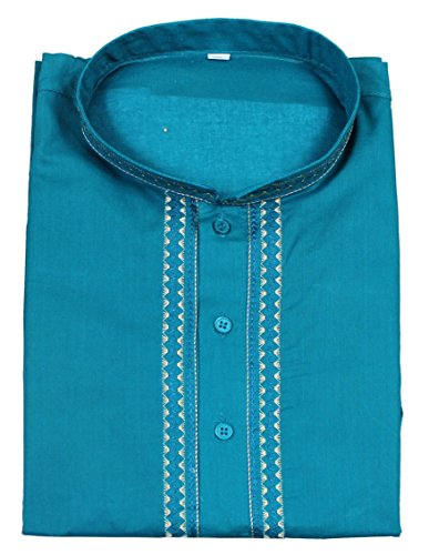 Mens-coton-kurta-bouton-manches-courtes-col-montant-T-shirt-dcontract-solide