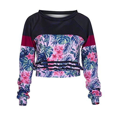 Who Cares Crop Sweatshirt Pullover Damen Mädchen Festival Sweater Top Sweatshirt Pulli Hipster Blogger Cropped Pullover Sommer Fullprint (FUCHSIA FLOWER)