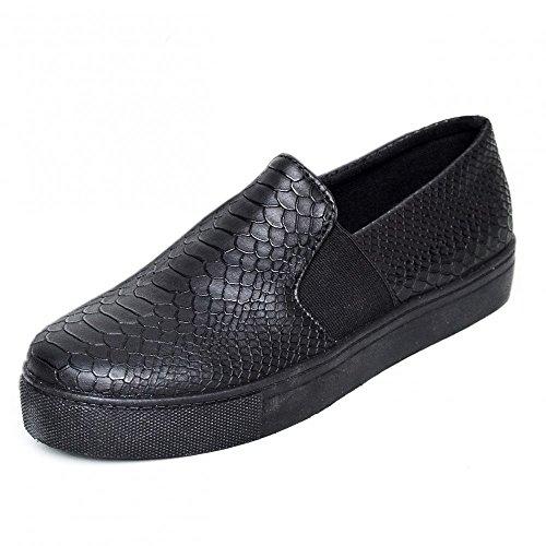 Damen Damen flache slip-on-Sneaker Trainer Turnschuhen Mädchen skater-Pumpen-Schuhe Black Snake
