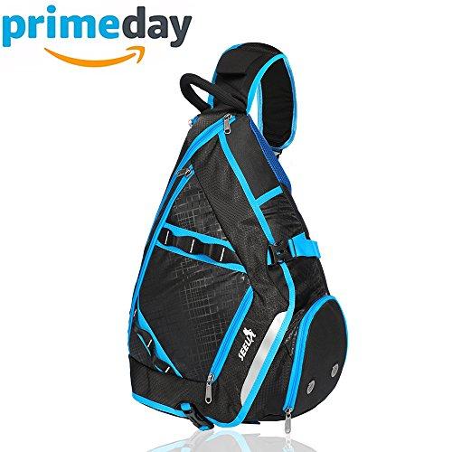 2-FNS Sling Rucksack Brusttasche Sporttasche Schultertasche Daypack für Damen und Herren Blau