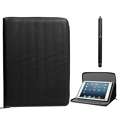 DMG Zippered Portfolio Cover Stand Case with Accessory Pockets for Samsung Galaxy Tab S SM-T805 Tablet (Black) + Capacitive Touch Screen Stylus  available at amazon for Rs.799