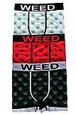 Streetwear Special - Boxer Sous Vêtement Garçon Motif Feuille de Marijuana (Paquet de 3) - Blanc/Rouge/Noir, S