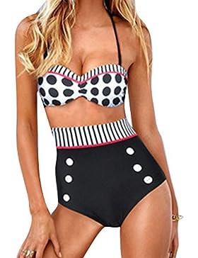Mujeres Retro Polk Punto Cintura Alta Push Up Bikini Traje De Baño
