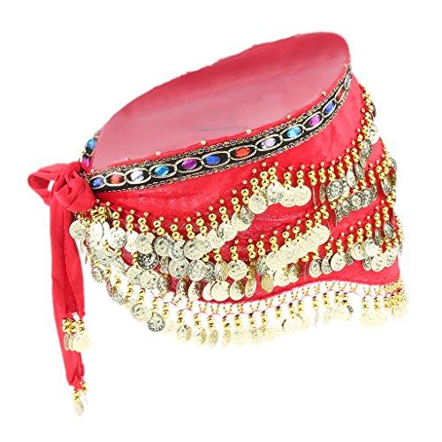 MagiDeal Damen Seiden Bauchtanz Hüfte Schal mit Goldmünzen Hüfttuch Hüftgürtel Münztuch Münzgürtel Bauchtänzerin Kostüm - rot, ()
