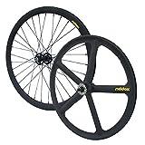 RIDDOX Laufradsatz Singlespeed Fixie 700C/28 Vorderrad und Hinterrad mit Freilaufritzel – Leichtmetall - 32 Speichen & 5 Speichen - Schwarz Matt