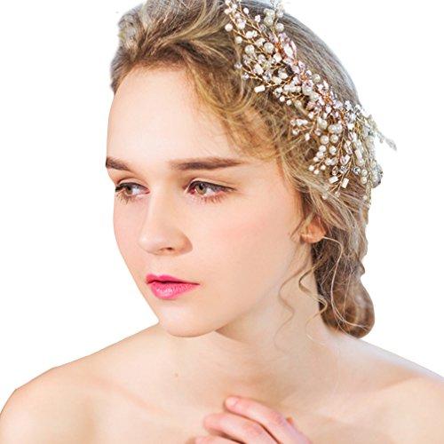 YAZILIND delicadas de la mujer de la boda tocado nupcial broche de pelo de aleación de broche de perlas rhinestones para el pelo de fiesta accesorios