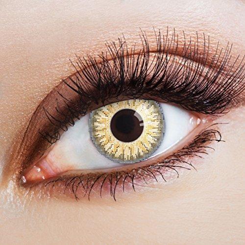 aricona Farblinsen Natürliche farbige Kontaktlinse Gold Grey -Jahreslinsen für helle Augenfarben,mit Stärke -1 Dioptrien,Farblinsen als Modeaccessoire für den täglichen Gebrauch