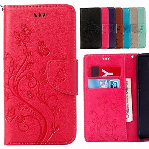 Yiizy Huawei Nova Custodia Cover, Fiori Sollievo Design Sottile Flip Portafoglio PU Pelle Cuoio Copertura Shell Case Slot Schede Cavalletto Stile Libro Bumper Protettivo Borsa (Red Rose)