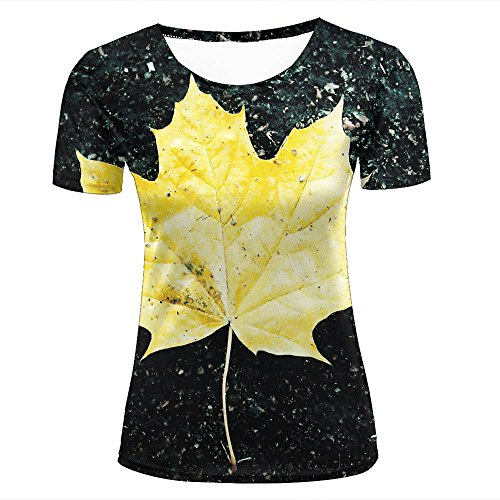 3d Print T Shirts Yellow Maple Leaves and Gravel Floor Graphics Men Women Couple Fashion Tees D