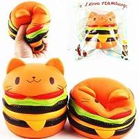 Lyhao 1 pz Squishy Jumbo Hamburger cat 11*10CM Colossal Squishies Super Slow Rising Cute Kawaii Collezione Regalo Decor per Bambini Giocattolo (hamburger cat)