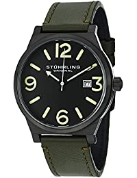 Stuhrling Original Aviator Eagle Osprey Men's Quartz Watch with Black Dial Analogue Display and Green Leather Strap 454.3355D1