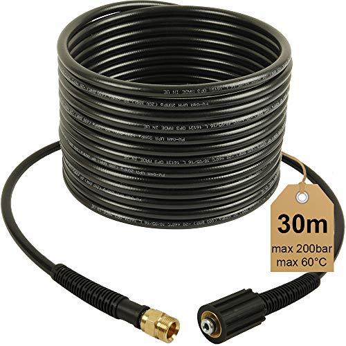 Rallonge de tuyau haute pression - 30m, 200 bars, 60°C, M22x 1,5- Filetage intérieur/extérieur, NW 6x 1- Idéal pour nettoyeur haute pression