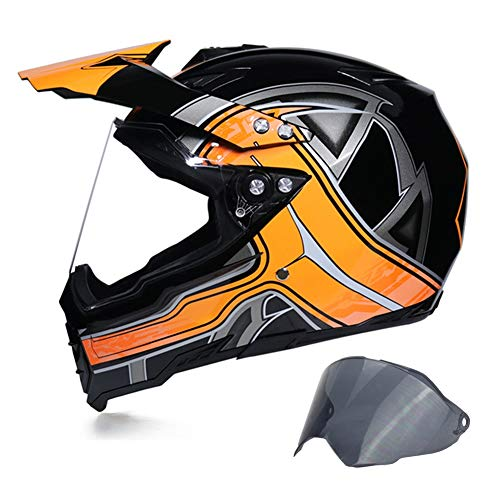 MRDEAR Casco Motocross con Visiera (2 PCS, Protezione UV) - Ventilazione Regolabile - Casco da Cross Adulto Casco MTB Integrale Moto Downhill Race ATV Scooter, Nero e Arancio,XXL