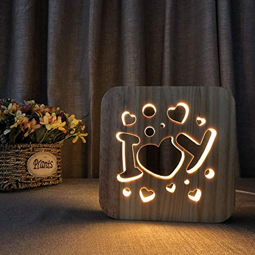 L.TSA Night Light Gift 3D Hollow out Table Lamp Quote I Love You R Shape Edging, Mesita de Noche Creativo, Escultura de Superficie Lisa Simple