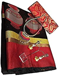 Fabattic Women's Tassar Silk Saree With Blouse Piece (Chi144, Black & Red Free Size)