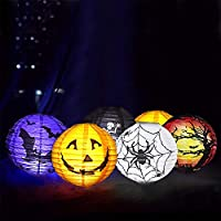 yizeda 6 Pack Halloween Paper Lantern Halloween Party Lantern with Led Light, Halloween Hanging Lanterns Decorative, Halloween Jack-O-Lanterns for Home Outdoor Yard Party Deco