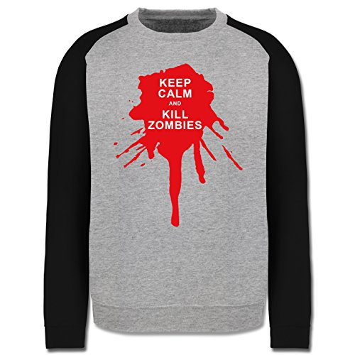 Keep calm - Keep calm and kill Zombies - Herren Baseball Pullover Grau Meliert/Schwarz