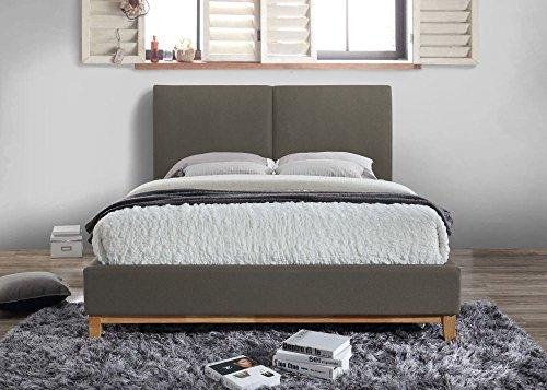 Happy Beds Helsinki Classic Grey Fabric Bed Light Wooden Legs with Memory Foam Mattress 4'6'' Double 135 x 190 cm