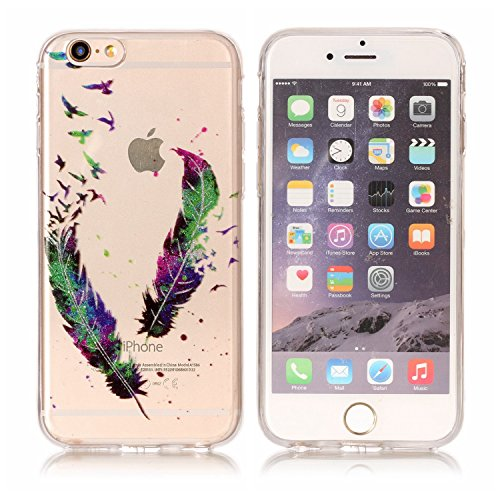 iPhone 6S Hülle , TPU Silikon Bling Glitter Cartoon Tasche Ultra Slim Weich Transparent Clear Schutzhülle Flexibel Rubber Ultradünnen Karikatur iPhone 6 Etui Fit Cover Telefon-Kasten Kratzfeste Schutz Feder