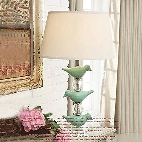 Kreative amerikanische Tischleuchte Nachttischleuchte Art déco Tischleuchte Glas Schlafzimmer Tischleuchte blue bird, 580mm