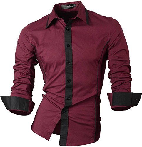 Jeansian uomo camicie maniche lunghe moda men shirts slim fit causal long sleves fashion 8015 winered xl