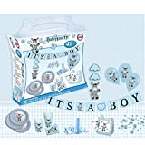 Smart Planet® Partykoffer IT`S A Boy Esel blau - für die Babyparty Motto Party die Geburtsfeier - 8 Personen - 52 TLG Teller Becher Girlande UVM