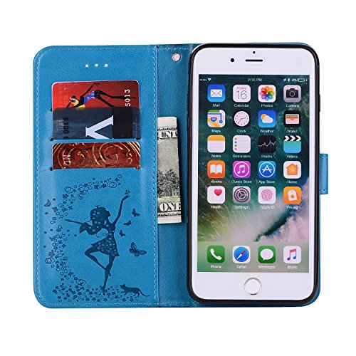 Custodia iPhone 7 Plus, ISAKEN Custodia iPhone 7 Plus, iPhone 7 Plus Flip Cover con Strap, Elegante 2 in 1 Custodia in Sintetica Ecopelle Sbalzato PU Pelle Protettiva Portafoglio Case Cover per Apple  Ragazza: blu