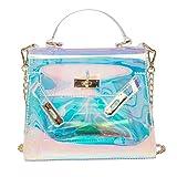 Tinksky Sac a bandouliere sac a main holographique brillant avec des chaines, sac a main Chic pour faire du shopping