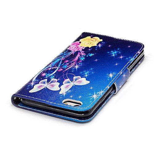iPhone 6 / 6S Plus (5.5 pouce) Coque , PU Cuir Étui Protection Wallet Housse la Haute Qualité Pochette Anti-rayures Couverture Bumper Magnétique Antichoc Case Anfire Cover pour iPhone 6 Plus - Panda Bleu et Papillon