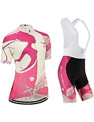 (option:Bretelle,3D 2.8cm Coussin)Mode Maillots de cyclisme manches courtes ensemble pantalon ou bretelle femme Sports de plein air respirant séchage r