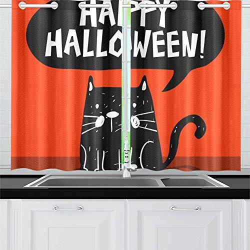oween-Gruß-Karte Schwarze Katze-Küchenvorhänge Fenster Vorhangebenen für Café, Bad, Wäscherei, Wohnzimmer Schlafzimmer 26X39 Zoll 2Pieces ()