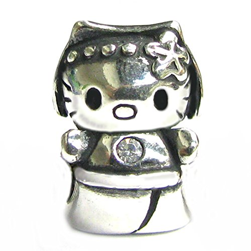 Queenberry ciondolo in stile europeo a forma di hello kitty in argento sterling e zirconia cubica trasparente