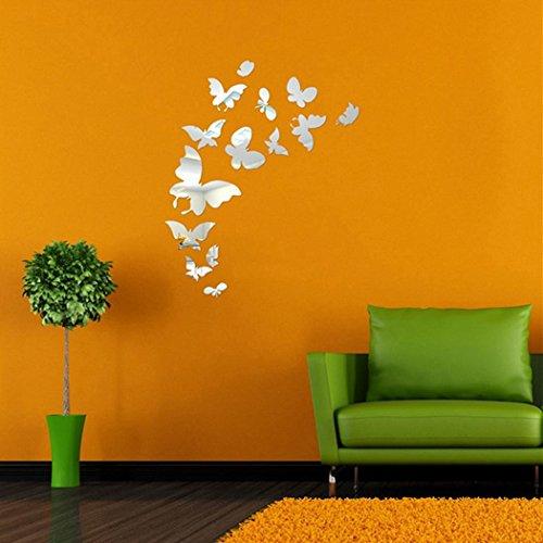 Groten Wandsticker Wandaufkleber Wandtattoo 14 x Schmetterling Spiegel Schmetterling Klebstoff Wand Aufkleber DIY Dekoration ETDS