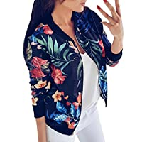 Fankle Women's Jacket Boho Floral Printed Classic Zip Up Long Sleeve Bomber Coat Casual Loose Short Lightweight Top Blouse(Blue,M)