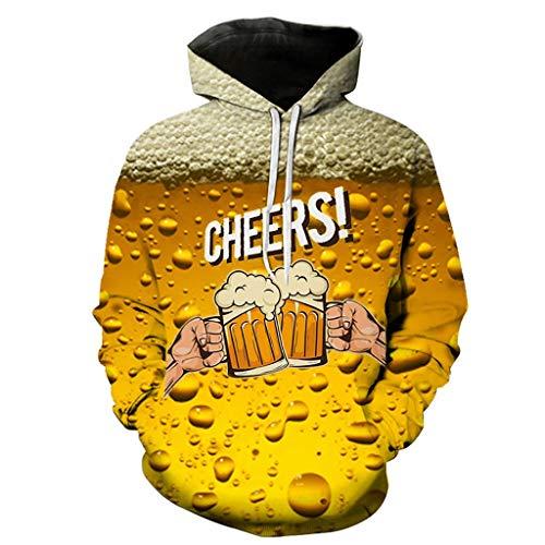 Xmiral Hoodie Sweatshirt Herren 3D Bier Drucken Kapuzenpullover mit Tunnelzug Tasche Herbst Camping Outdoor Tops Pullover für Oktoberfest(Gelb 2,XL) -
