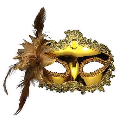 Venezianische Venetianische Gold mit Stein und Blume Flower glänzend Glitzer Maske Maskerade Masken Ball Karneval Kostüm Fasching Verkleidung Shades of Grey Mr Grey Herren Damen Männer Frauen