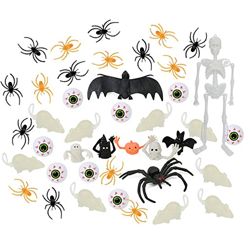 COM-FOUR® 41-teiliges Set Kinder Halloween Party Dekoration mit Augäpfeln, leuchtenden Ratten, Spinnen und lustigen (Augäpfel Dekoration Halloween)