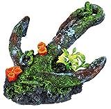 TRIXIE Dekoration ANKER mit KUNSTSTOFFPFLANZEN Polyesterharz 17cm für Aquarien