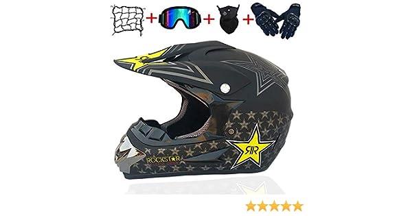 MTCTK Adult ROCKSTAR motocross helmet gifts goggles mask gloves moto racing full face helmet for man and woman