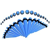 Buweiser Fashion Acrylic Ampullator Conical Kit with Double O-Ring Ear Piercing Piercing Earrings 36pc(Blue)
